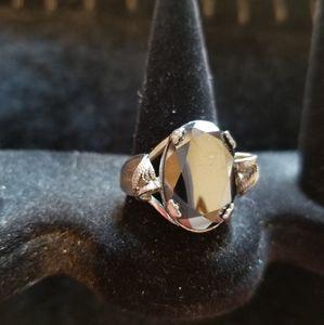 1980s Sterling black stone 9 1/2 ring